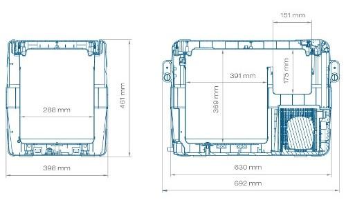 Размеры автохолодильника в аренду Waeco CFX-40