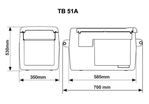 Размеры автохолодильника в аренду TB51A